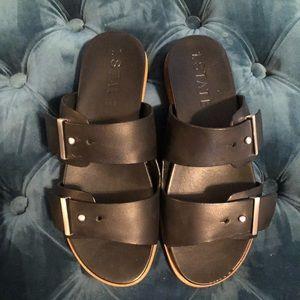 Black leather slip on sandal